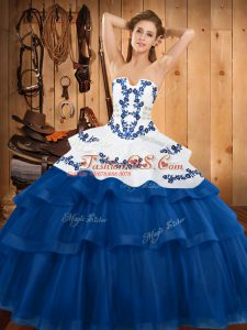 Traditional Strapless Sleeveless Sweep Train Lace Up Quinceanera Dress Blue Tulle