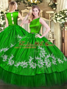 Charming Sleeveless Satin and Tulle Floor Length Clasp Handle Sweet 16 Dress in Green with Embroidery