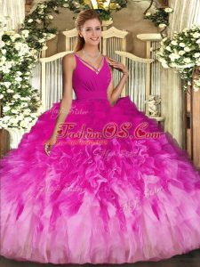 Multi-color V-neck Neckline Ruffles Quinceanera Gown Sleeveless Backless