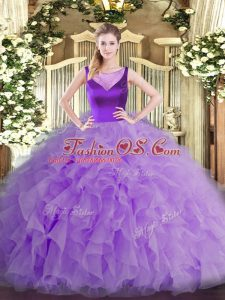 Scoop Sleeveless Quince Ball Gowns Floor Length Beading and Ruffles Lavender Organza