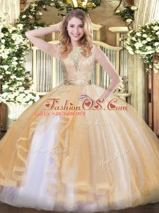 Scoop Sleeveless Organza Sweet 16 Dress Lace and Ruffles Backless