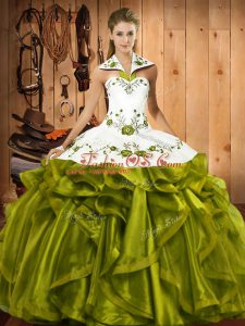 Customized Floor Length Olive Green Quince Ball Gowns Satin and Organza Sleeveless Embroidery and Ruffles
