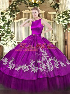 Lovely Fuchsia Clasp Handle Sweet 16 Quinceanera Dress Embroidery Sleeveless Floor Length