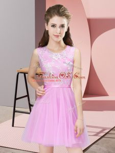 High End Rose Pink A-line Tulle Scoop Sleeveless Lace Mini Length Side Zipper Quinceanera Court Dresses