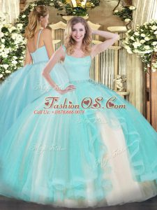 Smart Aqua Blue Sleeveless Tulle Zipper Quinceanera Gown for Military Ball and Sweet 16 and Quinceanera