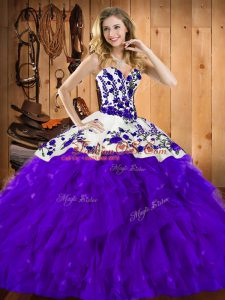 Graceful Sleeveless Lace Up Floor Length Embroidery and Ruffles Vestidos de Quinceanera