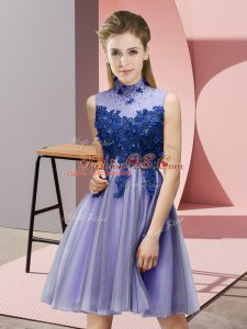 Lavender Empire Tulle High-neck Sleeveless Appliques Knee Length Lace Up Wedding Guest Dresses