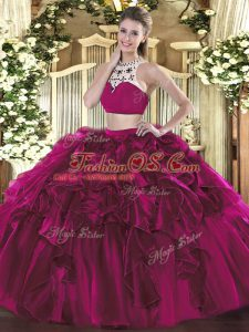 Two Pieces Quince Ball Gowns Fuchsia High-neck Tulle Sleeveless Floor Length Backless