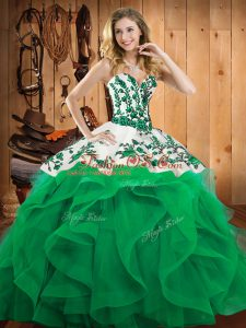Sleeveless Satin and Organza Floor Length Lace Up Quinceanera Gown in Turquoise with Embroidery and Ruffles