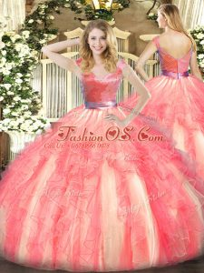 Watermelon Red Sleeveless Tulle Zipper Sweet 16 Quinceanera Dress for Military Ball and Sweet 16 and Quinceanera