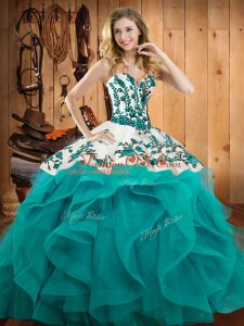 Embroidery and Ruffles Quince Ball Gowns Teal Lace Up Sleeveless Floor Length