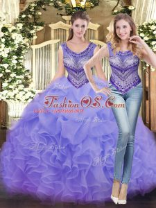 Fancy Lavender Lace Up Sweet 16 Dresses Beading and Ruffles Sleeveless Floor Length