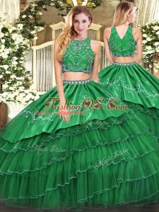 Green High-neck Zipper Beading and Embroidery and Ruffled Layers 15 Quinceanera Dress Sleeveless