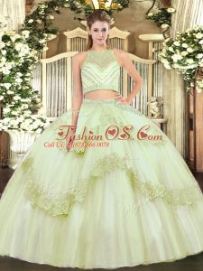 Custom Design Yellow Green Two Pieces Beading and Appliques Quinceanera Dresses Zipper Tulle Sleeveless Floor Length
