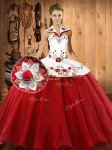 Graceful Wine Red Sleeveless Embroidery Floor Length Quinceanera Gown