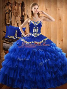 Blue Strapless Neckline Embroidery and Ruffled Layers Quince Ball Gowns Sleeveless Lace Up