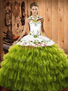 Olive Green 15 Quinceanera Dress Military Ball and Sweet 16 and Quinceanera with Embroidery and Ruffled Layers Halter Top Sleeveless Lace Up