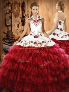 Satin and Organza Sleeveless Floor Length Quinceanera Gown and Embroidery and Ruffled Layers