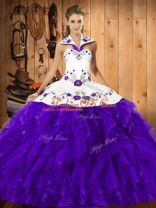 Purple Ball Gowns Halter Top Sleeveless Satin and Organza Floor Length Lace Up Embroidery and Ruffles Quinceanera Dresses