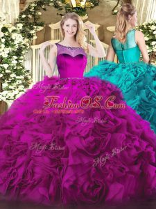Glittering Zipper Quinceanera Gowns Fuchsia for Sweet 16 and Quinceanera with Beading