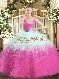 Shining Organza Sleeveless Floor Length 15th Birthday Dress and Ruffles