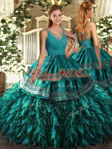 Free and Easy Floor Length Teal 15 Quinceanera Dress V-neck Sleeveless Backless