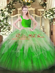 Lovely Sleeveless Organza Floor Length Zipper Quinceanera Gown in Multi-color with Ruffles