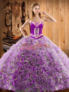 Adorable With Train Lace Up Sweet 16 Dresses Multi-color for Military Ball and Sweet 16 and Quinceanera with Embroidery Sweep Train