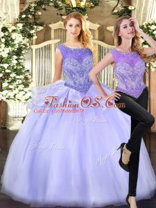 Attractive Sleeveless Floor Length Beading Zipper Quinceanera Gowns with Lavender