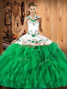 Stylish Floor Length Green Sweet 16 Dresses Halter Top Sleeveless Lace Up