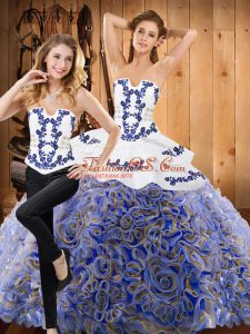 Custom Made Multi-color Two Pieces Strapless Sleeveless Fabric With Rolling Flowers Brush Train Lace Up Embroidery Ball Gown Prom Dress