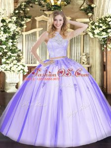 Beautiful Sleeveless Tulle Floor Length Zipper 15 Quinceanera Dress in Lavender with Lace and Appliques