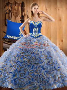 Enchanting Satin and Fabric With Rolling Flowers Sweetheart Sleeveless Sweep Train Lace Up Embroidery 15 Quinceanera Dress in Multi-color