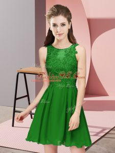 Hot Sale Green Scoop Zipper Appliques Bridesmaid Gown Sleeveless