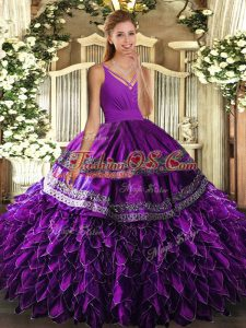 Designer Sleeveless Beading and Appliques and Ruffles Lace Up Ball Gown Prom Dress