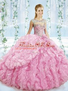 Elegant Baby Pink Ball Gowns Sweetheart Sleeveless Organza Brush Train Lace Up Beading and Ruffles Quinceanera Dresses