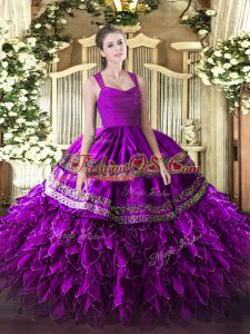 Fuchsia Quinceanera Gowns Military Ball and Sweet 16 and Quinceanera with Beading and Lace and Ruffles Straps Sleeveless Zipper