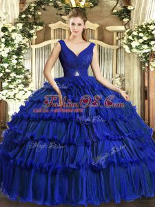 V-neck Sleeveless Quinceanera Dresses Floor Length Beading and Ruffled Layers Royal Blue Organza