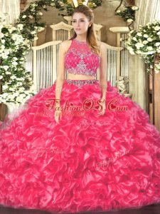 High Quality Coral Red Organza Zipper Scoop Sleeveless Floor Length Sweet 16 Quinceanera Dress Beading and Ruffles