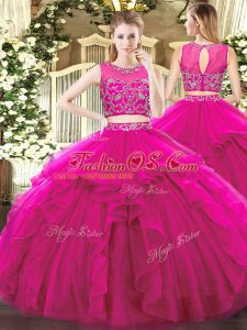 Classical Tulle Sleeveless Floor Length Sweet 16 Dresses and Beading and Ruffles