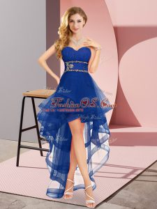Royal Blue A-line Sweetheart Sleeveless Tulle High Low Lace Up Beading Vestidos de Damas