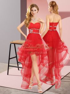 Super Red Lace Up Sweetheart Beading Quinceanera Dama Dress Tulle Sleeveless