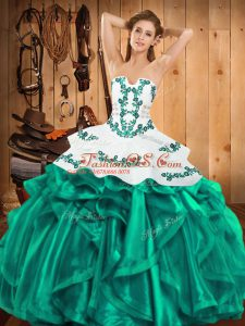 Popular Turquoise Sleeveless Floor Length Embroidery and Ruffles Lace Up Quinceanera Dress