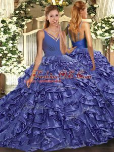 Lavender Sleeveless With Train Ruffles Backless Quinceanera Dress