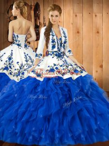 Deluxe Blue Sleeveless Floor Length Embroidery and Ruffles Lace Up Quince Ball Gowns