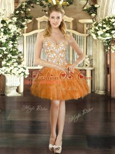 Unique Orange Red Evening Dress Prom and Party with Beading and Ruffles Straps Sleeveless Lace Up
