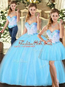 Floor Length Baby Blue Quinceanera Dress Sweetheart Sleeveless Lace Up