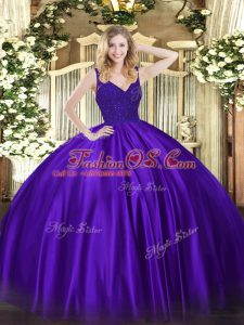 Sleeveless Backless Floor Length Beading and Lace Sweet 16 Quinceanera Dress