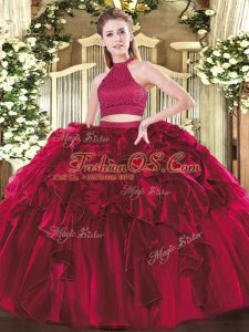 Glittering Fuchsia Halter Top Backless Beading and Ruffles Quinceanera Gown Sleeveless