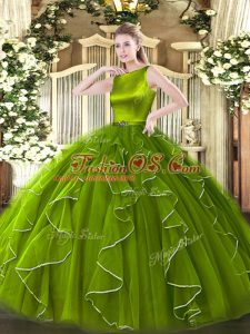 Hot Sale Olive Green Sleeveless Organza Clasp Handle Vestidos de Quinceanera for Military Ball and Sweet 16 and Quinceanera